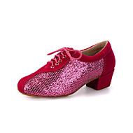 billige Moderne sko-Dame Moderne sko Velourisert / Glimtende Glitter Høye hæler / Joggesko Paljett / Gummi / Snøring Tykk hæl Kan spesialtilpasses Dansesko Fersken / Svart / Rød / Ytelse / Lær