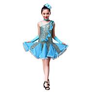 Danse latine Robes Utilisation Polyester / Pailleté Paillette / Ruché Robe / Gants / Coiffure