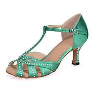 baratos Sapatilhas de Dança-Mulheres Balé / Sapatos de Dança Latina / Sapatos de Jazz Cetim Sandália / Salto / Têni Pedrarias / Presilha / Vazados Salto Carretel