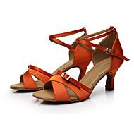 baratos Sapatilhas de Dança-Mulheres Sapatos de Dança Latina Cetim Sandália Presilha Salto Personalizado Personalizável Sapatos de Dança Marrom / Laranja / Púrpura / Interior / Couro