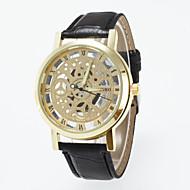 男性用 スケルトン腕時計 クォーツ / PU バンド カジュアルスーツ ブラック ブラウン