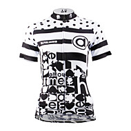 ILPALADINO Mulheres Manga Curta Camisa para Ciclismo - Preto / Preto com Branco Moto Camisa / Roupas Para Esporte, Secagem Rápida,