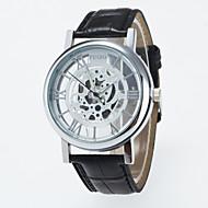 男性用 スケルトン腕時計 リストウォッチ 機械式時計 クォーツ / PU バンド カジュアル ブラック ブラウン