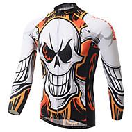 XINTOWN 男性用 長袖 サイクリングジャージー - ホワイト バイク ジャージー, 速乾性, 抗紫外線, 高通気性, 春 夏