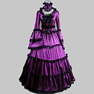 Rokoko Victoriansk Ruffle Dress Kostume Dame Kjoler Festkostume Maskerade Lilla Vintage Cosplay Satin Langærmet Digter Gulvlang Lang Længde Halloween Kostumer