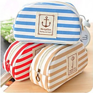 Canvas Creativity Pen Bag Navy Wind Lovely Personality High-Capacity Stripe Stationery Bags