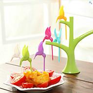 6 stks creatieve mode kolibrie plastic fruit vork willekeurige kleur