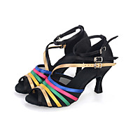 Women's Dance Shoes Belly / Latin / Dance Sneakers / Modern/ Samba Satin Flared Heel Black Customizable