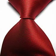 moda masculina escarlate vermelho verificado jacquard tecido gravado gravata
