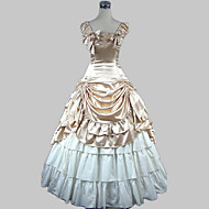 Sweet Lolita Klasik / Geleneksel Lolita Wiktoriańskie Ortaçağ Saten Kadın's Genç Kız Elbiseler Balo Cosplay Şampanya / Altın Kolsuz Yere Kadar Kostümler