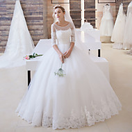cheap Ball Gown Wedding Dresses-Ball Gown Illusion Neckline Floor Length Lace Over Tulle Custom Wedding Dresses with Appliques Sash / Ribbon by LAN TING Express