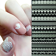 6PCS White Lace Edge Nail Stickers