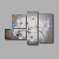 "Stretched (ready to hang) Hand-painted Oil Painting 52""x36"" Canvas Wall Art Modern Flowers White Grey"