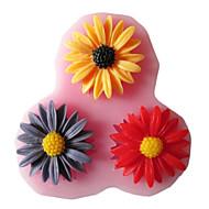 três furos girassol silicone ferramentas artesanais molde moldes fondant de açúcar flores de resina molde para bolos