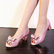 tanie Small Size Shoes-Damskie / Dla dziewczynek Derma Wiosna / Lato Gruby obcas / Obcas słupek Kokarda Biały / Różowy / Impreza / bankiet / Impreza / bankiet