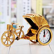 criativa de alarme retro rickshaw decoração desktop relógio de cabeceira de plástico