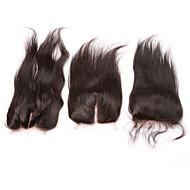8-20 Naturell Svart Helblonde Håndknyttet 3.5X4 Lukking Rett Menneskehår stenging Medium brun Sveitsisk blonde 20-60 gram Størrelse på lue