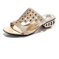 tanie Small Size Shoes-Damskie Obuwie Brokat Wiosna Lato Comfort Gruby obcas na Ślub Casual Formalne spotkania Impreza / bankiet Black Golden