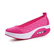 Femme Chaussures Toile Polyuréthane Printemps Eté Confort Mocassins et Chaussons+D6148 Talon Compensé Bout fermé Pour Décontracté Noir