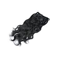 人間のヘアエクステンション15「-22」7PCS /セットクリップはマレーシアヘアクリップイン本体波#1ジェットブラック波状