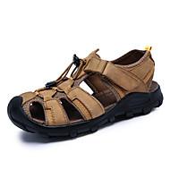 Masculino Sandálias Conforto Pele Napa Verão Água Conforto Velcro Rasteiro Castanho Escuro Khaki Verde Escuro Rasteiro