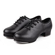 Kids' Tap Leatherette Oxford Beginner Low Heel Black Non Customizable