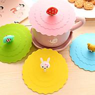 Ø 11cm verschiedenen Cartoon-Tier Silikon Schale bedecken kreative Farbbecher Kappe Trinkbehälter (gelegentliche Farbe)