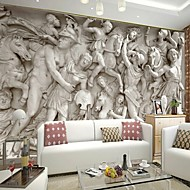 Retro 3D Shinny Leather Effect Large Mural Wallpaper Roman Relief Art Wall Decor for Tv Sofa Background Wall