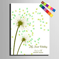 E-HOME® Personalized Fingerprint Painting Canvas Prints -Green Dandelion (Includes 12 Ink FColors)