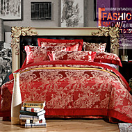 cheap High Quality Duvet Covers-Hot sale Luxury Silk Cotton Blend Duvet Cover Sets Queen King Size Bedding Set