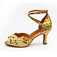 baratos Sapatilhas de Dança-Mulheres Sapatos de Dança Latina Gliter / Couro Ecológico Salto Presilha / Recortes Personalizável Sapatos de Dança Branco / Preto / Prata