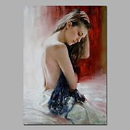 Maalattu Kuuluisa / Ihmiset / NudeModerni / European Style 1 paneeli Kanvas Hang-Painted öljymaalaus For Kodinsisustus