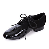 Men's Modern Ballroom Leatherette Oxford Low Heel Black Non Customizable