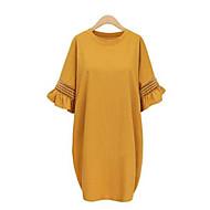 女性用 プラスサイズ ストリートファッション フレアスリーブ ルーズ ドレス - ラッフル, ソリッド 膝丈