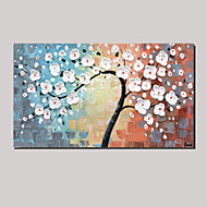 Hand Painted Oil Painting Leaves White Lucky Tree Abstract Paintings with Stretched Frame