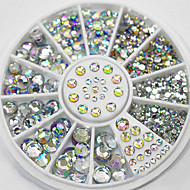 cheap Nail Art-4 Size 300pcs Nail Art Tips Crystal Glitter Rhinestone Decoration Wheel