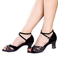cheap Dance Shoes-Women's Latin Sparkling Glitter Velvet Sandal Sneaker Heel Indoor Sparkling Glitter Lace-up Ruched Ruffles Cuban Heel Black Silver Blue by Shall We®