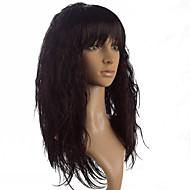 Kobieta Peruki syntetyczne Tkany maszynowo Długo Proste Yaki Black Brown Fuxia Z grzywką Peruka naturalna Costume Peruki