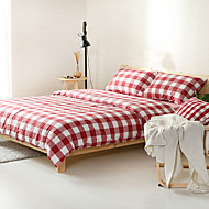 White and red plaid Washed Cotton Bedding Sets Queen King Size Bedlinens 4pcs Duvet Cover Set