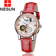 cheap Mechanical Watches-nesun Women's Automatic self-winding Skeleton Watch Hollow Engraving Leather Band Charm Red