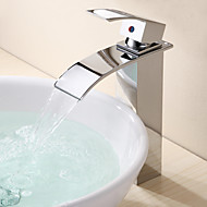 Contemporary Modern Vessel Waterfall with  Ceramic Valve One Hole Single Handle One Hole for  Chrome , Bathroom Sink Faucet