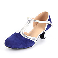 Women's Dance Shoes Modern Suede Cuban Heel Black/Blue/Brown
