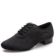 billige Moderne sko-Herre Sko til latindans / Moderne sko Lerret / Silke Høye hæler Snøring Lav hæl Kan ikke spesialtilpasses Dansesko Svart / Innendørs