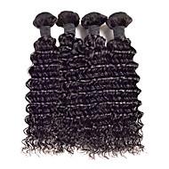 Echthaar Malaysisches Haar Menschenhaar spinnt Lockig Ringellocken Haarverlängerungen 4 Stück Schwarz