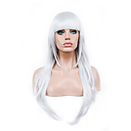 Mulher Perucas sintéticas Longo Reto Branco Peruca para Fantasia