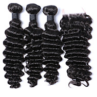 Brazilian Deep Wave With Closure 3Bundles With Closure Brazilian Deep Curly Virgin Hair Weft Weaves With Closure
