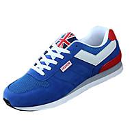billige Træningssko til herrer-Herre Sko PU Forår Sommer Efterår Vinter Komfort Sneakers Løb Sort Mørkeblå Rød Blå