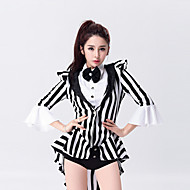 cheap Dancewear & Dance Shoes-Jazz Leotards Outfits Women Performance Cotton / Polyester Bow(s) Stripe Magician Dance Costumes Black by Shall We®