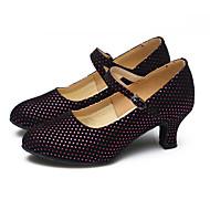 billige Sko til latindans-Dame Moderne sko Glimtende Glitter / Syntetisk / Fløyel Høye hæler / Joggesko Gummi / Drapert / Bølgemønster Kubansk hæl Kan ikke / Lær