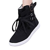 cheap Women's Boots-Women's Shoes Canvas Winter Boots Flat Heel Lace-up for Casual Black Gray